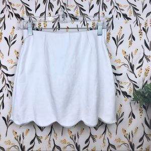Topshop Skirts - Topshop White Scallop Hem Mini Skirt